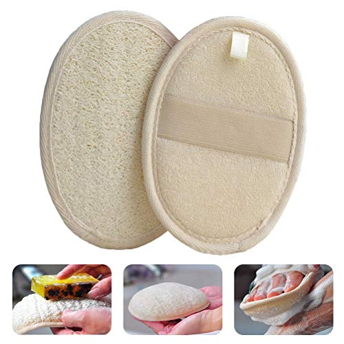 CLFYOU Esponja de baño exfoliante natural de luffa, toalla exfoliante de baño reutilizable y duradera para mujeres, hombres, niños