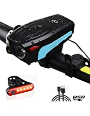 BIKUUL Bicycle Light Set Bike Headlight with Horn & Taillight Waterproof Front Rear Light for Mountain Bicycle Cycling Camping Outdoor Safety (Blue, USB Rechargeable)(Blue)