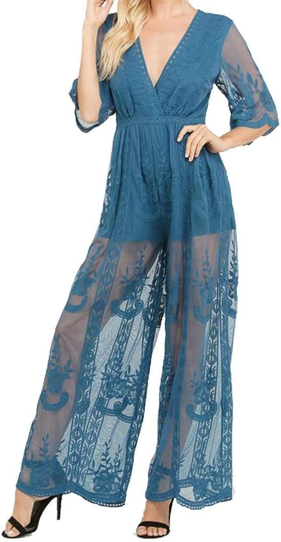 Wishlist Womens Plunging Neckline Lace Wide Leg Jumpsuit