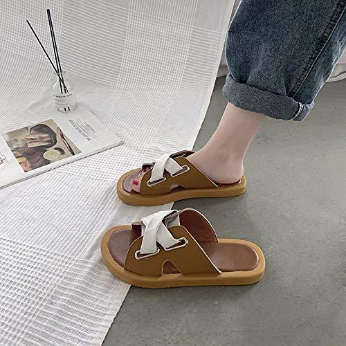 Badslippers Sneldrogend, zomermode dik, strandschoenen, plat kruis met sandalen-39_yellow, hak Slip-on muiltjes Sandalen