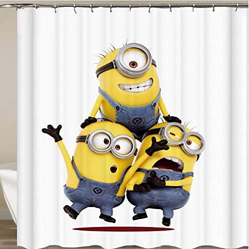 PePaa Gelbe Duschvorhänge Boshafte Minions Serie Duschvorhänge Badvorhang Polyester Wasserdichter Badvorhang 150X200CM
