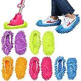 Keesin - Zapatillas de microfibra multifunción para limpiar el suelo, lavables y reutilizables, el paquete incluye 5 pares