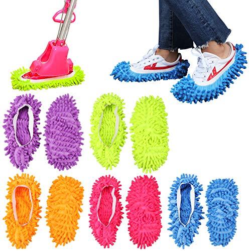KEESIN Mikrofaser Mopp Slipper Multifunktion Bodenreinigung Waschbar Wiederverwendbar Schuhe abdecken 5 Paare