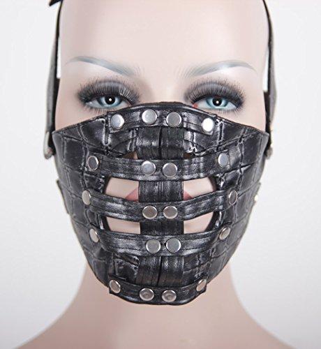 Devil Fashion Masque noir et argent en cuir synthétique cadrier, dark cyber punk