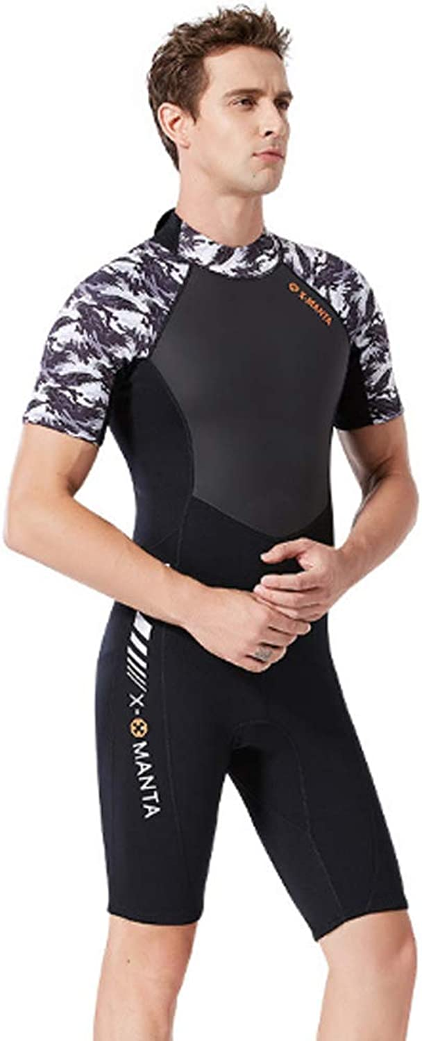 1.5mm Short Sleeve Wetsuit for Men,Thicken Warm onePiece Scuba Diving Suit for Surfing Snorkeling Kayaking Canoeing,M