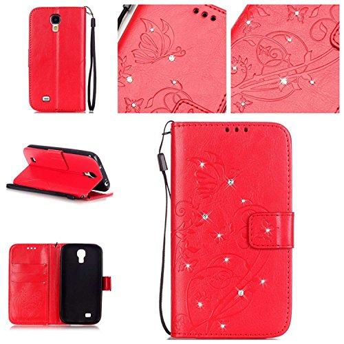 Guran® Funda de Cuero PU para Samsung Galaxy S4 Mini (i9190) Smartphone Función de Soporte con Ranura para Tarjetas Flip Case Cover de Mariposa con Cristal Artificial Brillante - roja