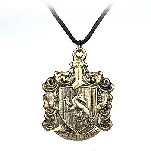 TopschnaeppchenDSH Harry Potter Haus Hufflepuff Wappen Crest Lederkette & Anhänger