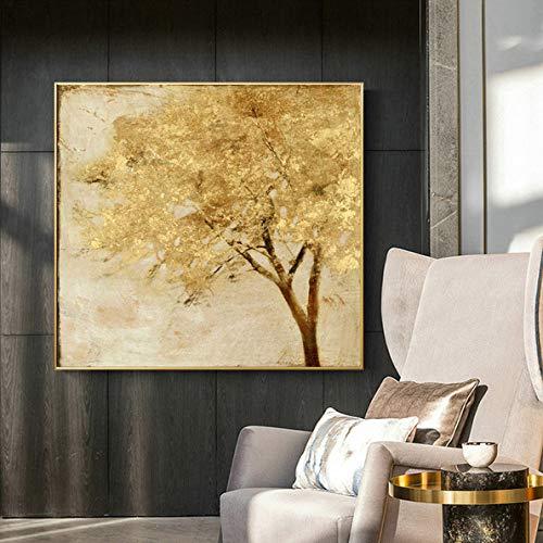 Skandinavischer Stil Poster Marmor Blattgold Kunst Pflanze Abstrakte Malerei Wohnzimmer Dekoration Malerei 40x40cm