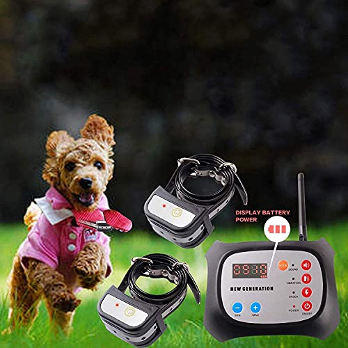 JUSTPET Dog Wireless Fence & Training Collar Outdoor 2-in-1 System, Electric Wireless Fence for Dogs, Adjustable Range Control 1000 Feet, Waterproof...