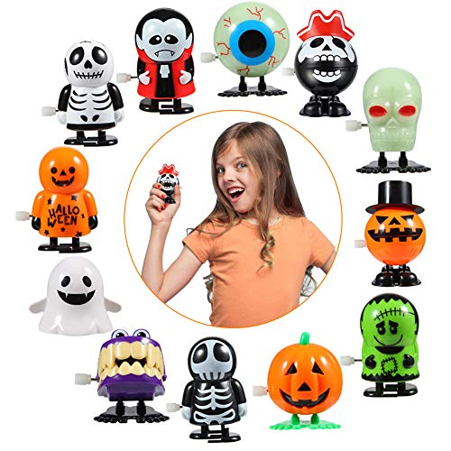 ThinkMax 12 Pcs Halloween Wind Up Toys Assorted Clockwork Toys for Kids Halloween Party Favors, Goodie Bag Filler