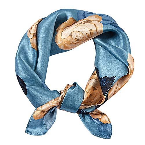 GERINLY Pure Mulberry Silk Scarf Rose Flower Square Neck Wrap Lightweight Headscarf 21' 21' (Blue)
