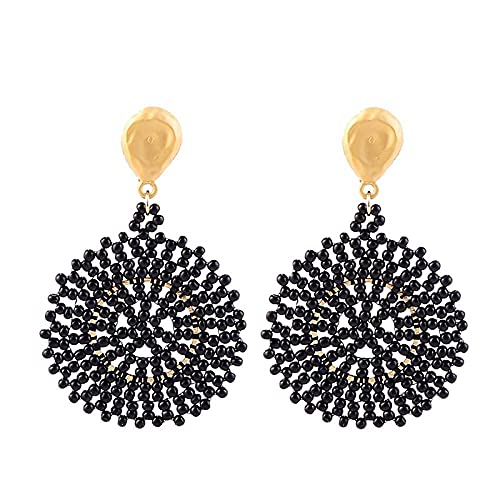 XCWXM Fashion female handmade resin beaded earrings female geometric rounded earrings female party accessories-E1007-5 Black