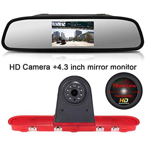 【Super HD Rückfahrkamera Set】4.3'' Rückspiegel Monitor + 1280*720 Pixel 1000TV Linien HD Nachtsicht Bremsleuchte Rückfahrkamera für Citroen Dispatch/Toyota Proace/Peugeot Expert Traveller from 2016