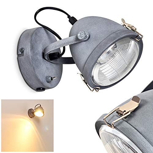 Wandleuchte Butikon, verstellbare Wandlampe aus Metall in Grau-Blau, 1-flammig, 1 x GU10-Fassung max. 40 Watt, Wandspot im Retro/Vintage Design m. An-/Ausschalter am Gehäuse, LED Leuchtmittel geeignet