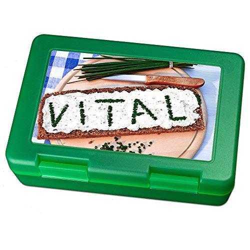 printplanet Brotdose mit Namen Vitali, Motiv Brotscheibe , Lunchbox mit Namen, Brotdose Light Green - Frühstücksdose Kunststoff lebensmittelecht