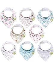 Organic Baby Bandana Drool Bibs for Girls - Super Absorbent Organic Cotton Bandana Bibs - Baby Drool Bib - Teething Bibs - Handkerchief Bibs for Infant, Toddler - 8-Pack Bib Set (Flourish)