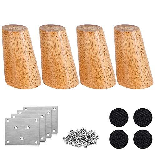 Nsiwem Patas madera para muebles 4 piezas Patas para muebles de madera Patas 10cm con placas de hierro, almohadillas antideslizantes y tornillos para Sofá Silla Cama Armario