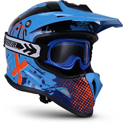Soxon SKC-33 Kinder-Cross-Helm, ECE Schnellverschluss SlimShell Tasche, XS (51-52cm), Fusion Blau