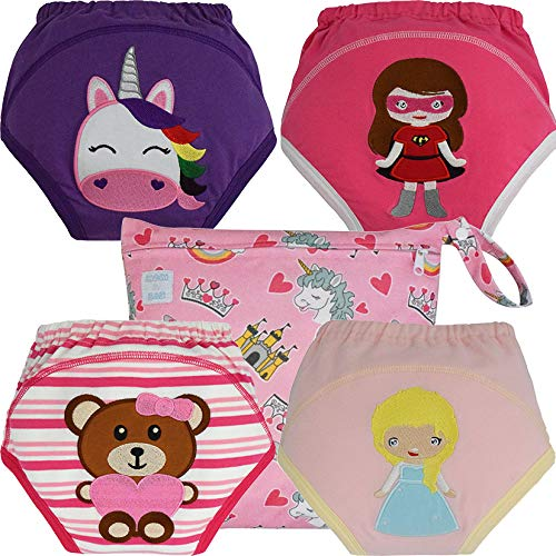 MOM & BAB Potty Training Pants / Underwear for Toddlers   Free Wet Bag   Water-Resistant Liner   Soft Cotton   Train Faster (Girls-L)