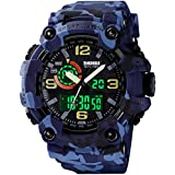Men's Watches Multi Function Military S-Shock Sports Watch LED Digital Waterproof Alarm Watches (Camouflage Blue)