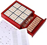 Barir Rompecabezas Juego de Mesa, con cajón de Madera Sudoku Juego de Mesa de Madera Sudoku Juego de Mesa lógica Pensamiento Nueve-Gold Square Sudoku Game (Color : Red , Size : B )