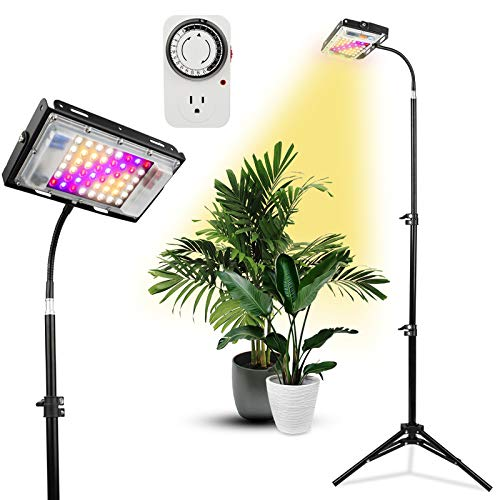 LED Plant Grow Lights with Stand, Lordem Full Spectrum 150W Floor Plant Light for Indoor Plants, Standing Grow Lamp with Timer 1-24H&Tripod Adjustable 18-47 Inch