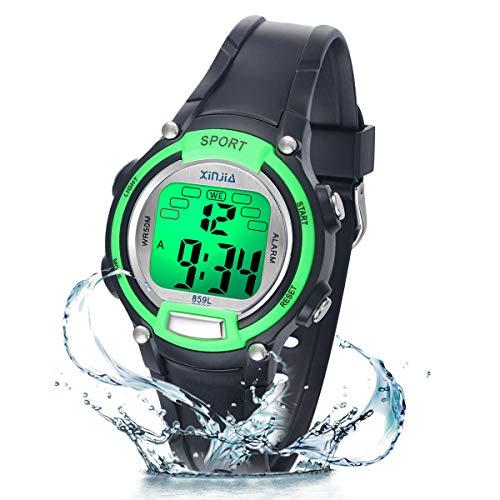 Reloj Niño Niña Digital,7 Colores 50M Impermeables Relojes de Pulsera Infantil,Relojes Deportivos de Pulsera Multifuncionales para Exteriores con Cronómetro/Alarma para Niños 5-15 años (Negro-Verde)
