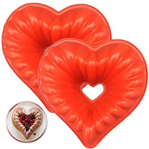 Silikon Herz Geformt Kuchenform Silikon Kuchenform mit Herz Kuchenform Herzförmige 2 Stück Silikon Herzchen Backform Rot für Kuchen,Muffincups,Schokolade,Seife,Mousse,Dessert Backform(23*22*8.5cm)