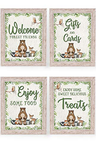 Katie Doodle Woodland Baby Shower Decorations for Boy Girl | Super Cute for Forest Animals Theme Birthday or Woodland Creatures Baby Shower Party Supplies | Includes 4 Table Signs, 8x10 [Unframed]