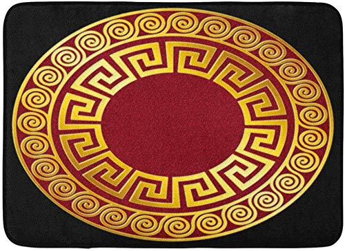 Fußmatten Bad Teppiche Outdoor / Indoor Fußmatte Griechische Traditionelle Vintage Goldene Runde Griechische Mäander Muster auf Rot und für Fliesen Platten Antike Badezimmer Dekor Teppich Badematte