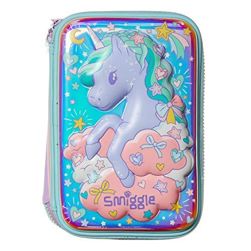 Smiggle Illusion Kids, estuche portalápices escolar con tapa rígida para niñas y niños con tres compartimentos y cierres de cremallera | Con dibujos de unicornios