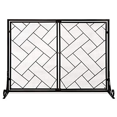 Best Choice Products 44x33in 2-Panel Handcrafted Wrought Iron Decorative Mesh Geometric Fireplace Screen, Fire Spark Guard w/Magnetic Doors - Black by Best Choice Products