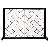 Best Choice Products 44x33in 2-Panel Handcrafted Wrought Iron Decorative Mesh Geometric Fireplace Screen, Fire Spark Guard w/Magnetic Doors - Black
