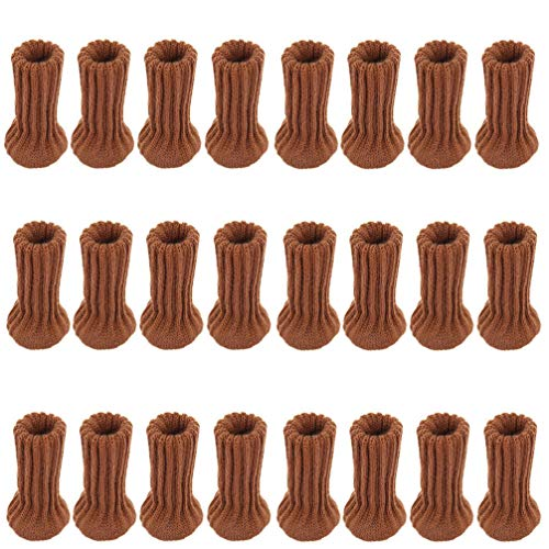 Garneck 24Pcs Stuhl Bein Socken Nicht- Slip Möbel Füße Socken Abdeckungen Möbel Bein Pads Stuhl Bein Boden Protektoren Boden Kratzer Reduzieren Lärm Kaffee