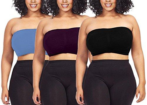 Dinamit Jeans Women's Plus Size Seamless Padded Bandeau Tube Top Bra Provblue-Blk-Aub-7X-8X