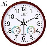 reloj de pared,reloj de pared adhesivo,reloj de pared vintage.Temperatura redonda higrómetro de pared electrónico reloj de pared dormitorio sala de estar reloj de cuarzo silencioso mesa colgante