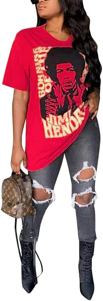 LAJIOJIO Women's Casual Letter Print Crewneck T-Shirt Short Sleeve Tunic Tops