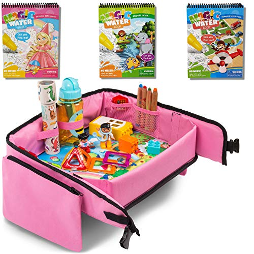 Toddler Travel Tray (Pink) + Bonus 3 pieces Water Books |Car Seat Tray for Kids | Car Seat Travel Trays | Lap Desk, Activity Tray, Stroller Tray, Play Tray