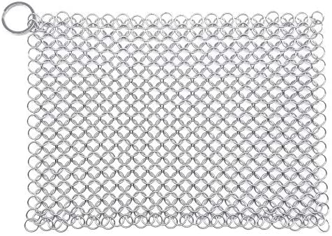 WFRX 8 6 Large Premium 316L Stainless Steel Cast Iron Cleaner Chainmail Scrubber for Cast Iron product image