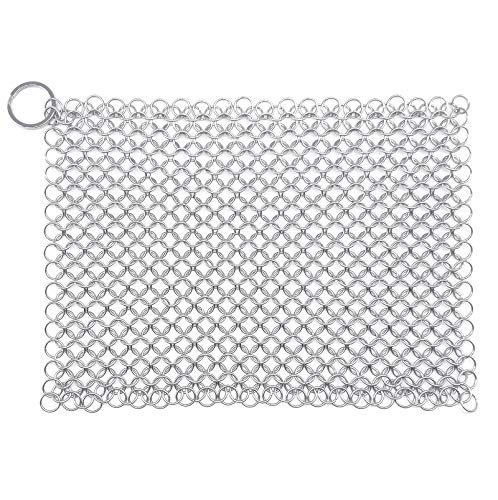 """WFRX Cast Iron Cleaner 8""""x6"""" Large Premium 316 Stainless Steel Cast Iron Scrubber, Chainmail Scrubber for Cast Iron Pans, Skillet, Wok, Pot, Pan, Glassware"""