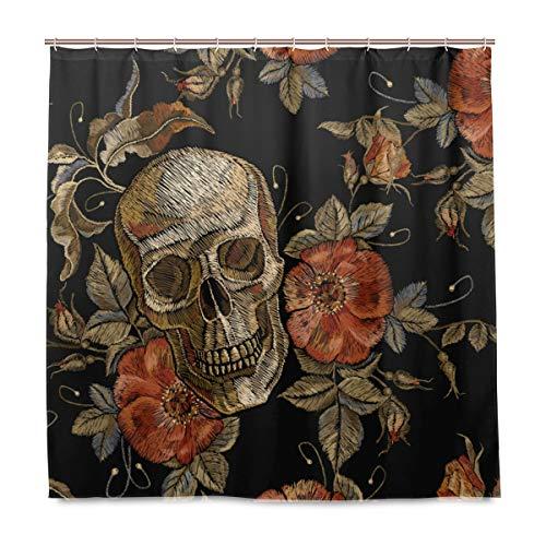 Mr.Lucien Skull Flowers Shower Curtain Gothic Pattern Bathroom Shower Curtain for Girl Boy Custom Waterproof Fabric Decor with 12 Hooks Set 72 x 72 inch 2020131