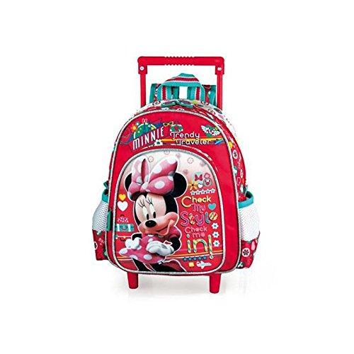 Minnie e i suoi amici-Zaino-trolley, motivo: Minnie, 30 CM, per Traveler scuola materna, colore: rosso