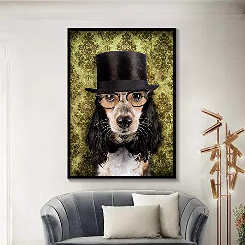 tzxdbh zwart en wit stijlvolle hond kat wolf vos muur kunst affiches en afdrukken dier het dragen van een hoed veer canvas schilderij huisdecoratie 30X42cm 10