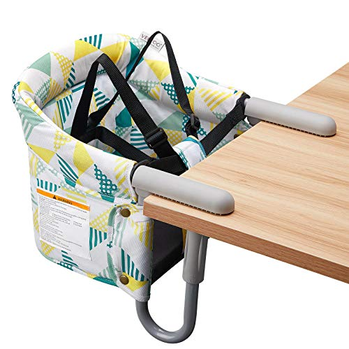 VEEYOO Clip On High Chairs - Fast Table Chair for Babies and Toddlers, Portable Baby Seat for Table (Geometry Printing)