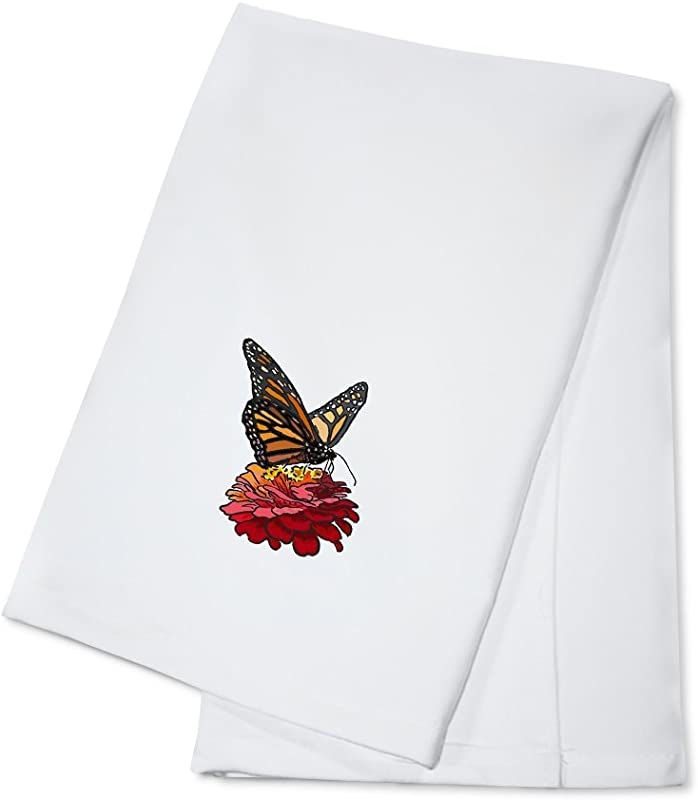 Monarch Butterfly And Flower Icon 100 Cotton Kitchen Towel