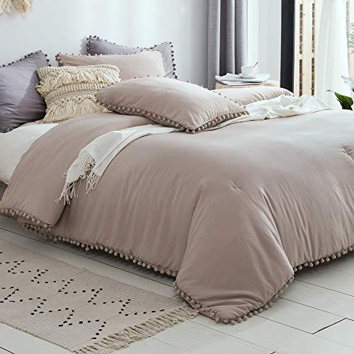 SexyTown Pom Comforter Set Queen Size,Ultra Soft Warm Bed Comforter,Microfiber Inner Fill Bedding 3 Pieces(1 Boho Comforter+2 Pom Pom Trim Ball Fringe Pillow Shams)