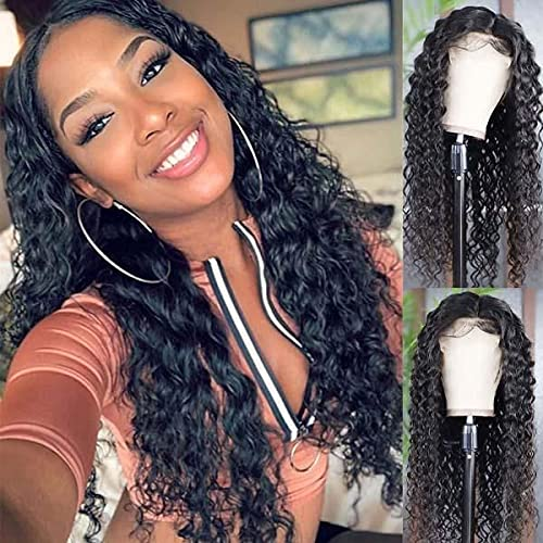 Water Wave Lace Front Wig 4x4 Closure Wig Human Hair Wig Pre Plucked 150% Density Brazilian Virgin Water Wave 4x4 Lace Front Wigs for Black Women 16 Inch