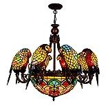 Cristal de lujo europeo de la lámpara estilo europeo clásico creativo del pájaro del loro decorativa lámpara de Tiffany barra de la lámpara soporte de bronce rojo salón comedor dormitorio araña de caf