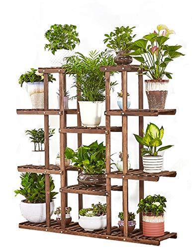 LI MING SHOP-Flower stand WLM Support à Fleurs de Grande capacité, Montage de Grande capacité, pour Salon, Balcon en Bois Massif, étagère de Rangement pour bonsaï, 120 x 26 x 120 cm, A+