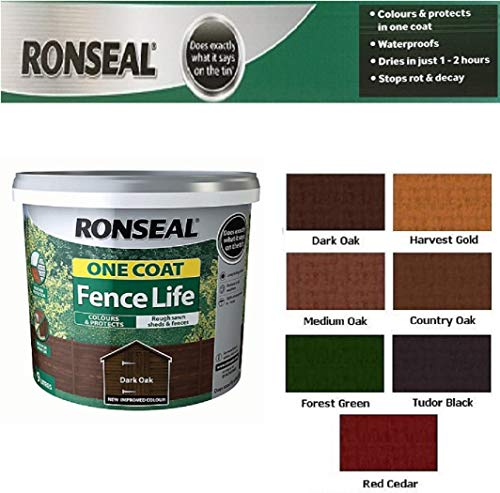 Scotvision Ronseal One Coat Fence Life Fast Dry Garden Shed Fence Paint 5 litres Dark Oak